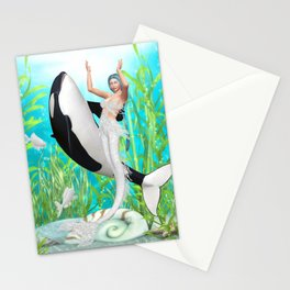 The Mermaid Dance With An Orca Stationery Cards
