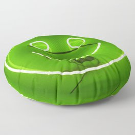 GREEN SMILE NEON SIGN Floor Pillow