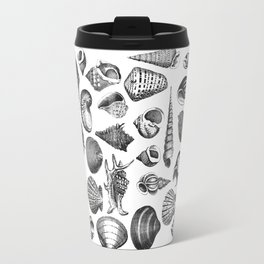 Vintage Sea Shell Drawing Black And White Travel Mug