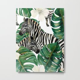 Tropical Jungle Pattern White Hibiscus Green Tropical Monstera Leaf Zebra In The Bush Watercolor Metal Print