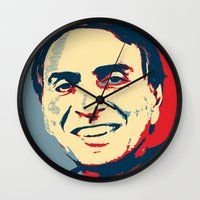 carl sagan Wall Clocks featuring Carl Sagan 'Hope' by cvrcak