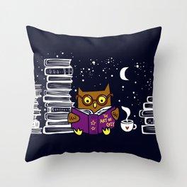 Owl Night Reader Throw Pillow