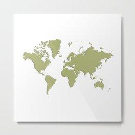 World with no Borders - sage Metal Print