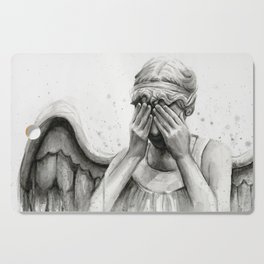 Weeping Angel Watercolor Painting Cutting Board