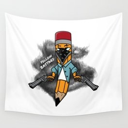 Gangsta pencil with guns illustration. Yellow pen with bandana mask on face, criminal t-shirt print. Wall Tapestry