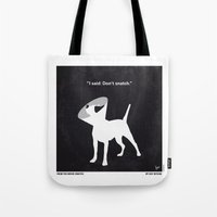snatch Tote Bags featuring No079 My Snatch minimal movie poster by Chungkong