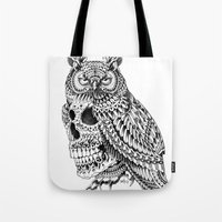 bioworkz Tote Bags featuring Great Horned Skull by BIOWORKZ