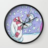 hamlet Wall Clocks featuring Christmas #5 Snow Hamlet by Clinton Morgan Artworks