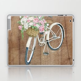 White Bicycle with floral bouquet Laptop & iPad Skin