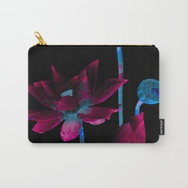 Dark Magenta and Solar Blue Mosaic Floral Carry-All Pouch