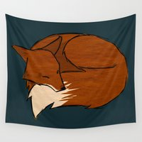 fireflies Wall Tapestries featuring Foxes & Fireflies by Wideawake Sleep Clinic