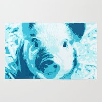 piglet Area & Throw Rugs featuring Sweet Piglet,aqua toony by MehrFarbeimLeben