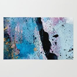 Breathe [3]: colorful abstract in black, blue, purple, gold and white Rug