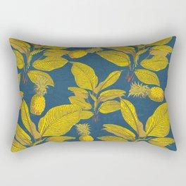 Exotic Pineapple Tropical Banana Palm Leaf Print Rectangular Pillow