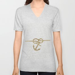 Elegant faux gold white nautical knot anchor watercolor splatters Unisex V-Neck