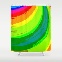 pride Shower Curtains featuring Pride by Vix Edwards - Fugly Manor Art