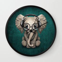 Cute Baby Elephant Dj Wearing Headphones and Glasses on Blue Wall Clock