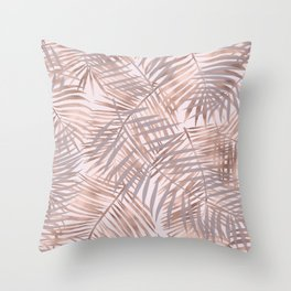 Shady rose gold palms Throw Pillow