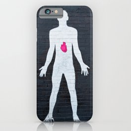mural depicting a man painted in white with a red heart iPhone Case