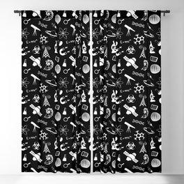Science Symbols on Black Blackout Curtain