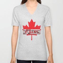 The Eh Team Funny Maple Leaf Flag Gift for Canadians Unisex V-Neck