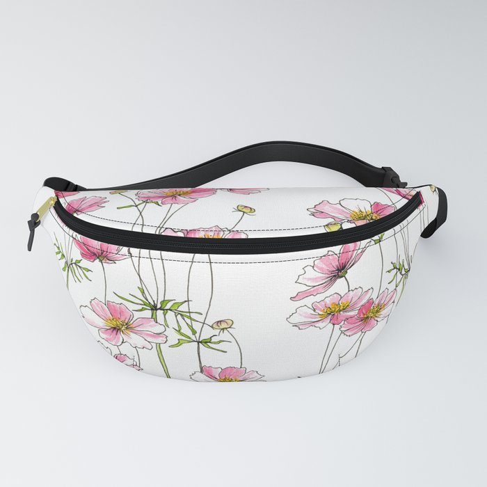 Pink Cosmos Flowers Fanny Pack