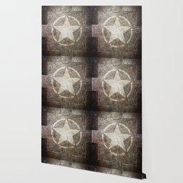 Army Star on Distressed Riveted Metal Door Wallpaper