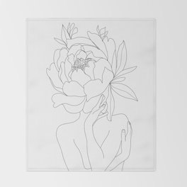 Minimal Line Art Woman Flower Head Throw Blanket
