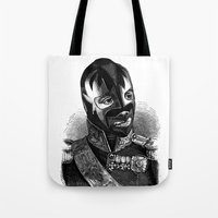 wrestling Tote Bags featuring WRESTLING MASK 8 by DIVIDUS DESIGN STUDIO