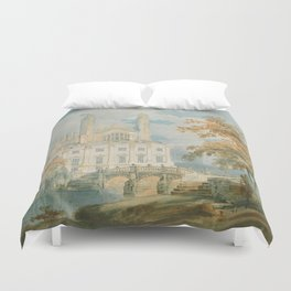"""J.M.W. Turner """"Clare Hall and King's College Chapel, Cambridge, from the Banks of the River Cam"""" Duvet Cover"""