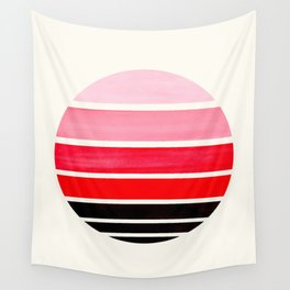 Red Mid Century Modern Minimalist Circle Round Photo Staggered Sunset Geometric Stripe Design Wall Tapestry