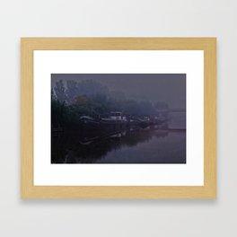 Boats in the morning mist  Framed Art Print
