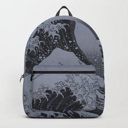 Silver Japanese Great Wave off Kanagawa by Hokusai Backpack