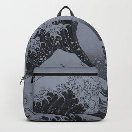 Silver Japanese Great Wave off Kanagawa by Hokusai Backpack