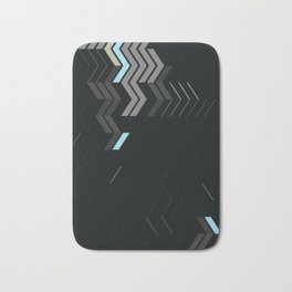 Deconstructed Chevron C – Gray / Gold / Blue Abstract Pattern Bath Mat