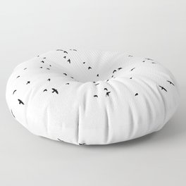 The Black Birds (Black and White) Floor Pillow