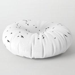 The Black Birds (Black and White) Floor Pillow