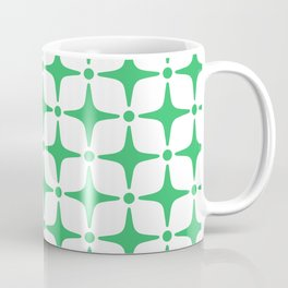 Mid Century Modern Star Pattern Green Coffee Mug