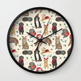 Holiday Dogs Wall Clock
