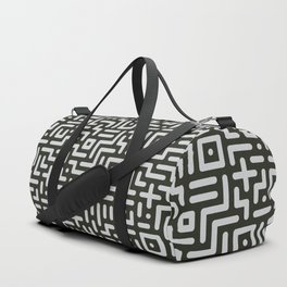 Round line geometric elements in black & white Duffle Bag