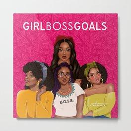 Girl Boss Goals - Hot Pink Metal Print