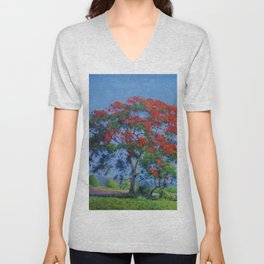 Royal Poinciana tree orange floral landscape painting by Domingo Ramos Unisex V-Neck