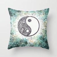 yin yang Throw Pillows featuring Yin & Yang by Hope