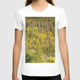 Fall is Coming // Colorful Woodland Tree Landscape Yellow and Green Leaf Photograph T-shirt