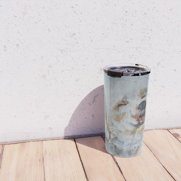 Bichon Frise dog art Fine Art Dog Painting by L.A.Shepard Travel Mug