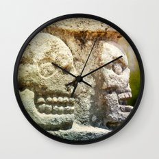 Mayan Stone Skulls Wall Clock
