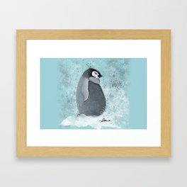 Baby Penguin Watercolor Framed Art Print