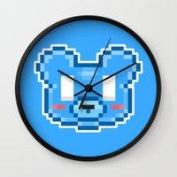 8bit Wall Clocks featuring 8Bit Kawaiikuma by Bear Picnic