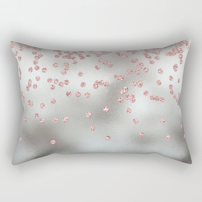 Rose gold  pink glitter confetti on silver metal background Rectangular Pillow