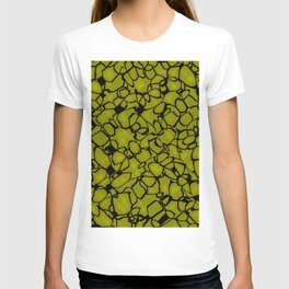Chaotic bubbly straw thread of spherical molecules on dark glass.  T-shirt